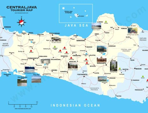 Tourism map of Central Java, by Indonesia Tourism.